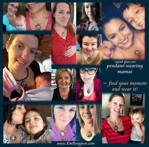 mamas & round glass art pendants