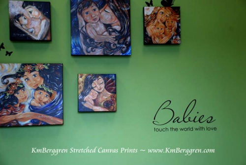 collector display of stretched canvas prints