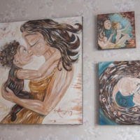 collector display of original paintings