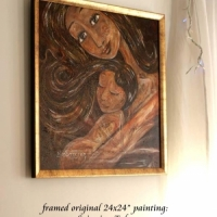 original painting on canvas (framed), Spinning Tales