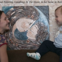 original painting on canvas, Laughing At The Moon