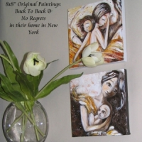 """collector display of original 8x8"""" paintings on canvas"""