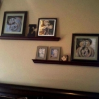 """collector display of framed prints and original 4x4"""" painting"""