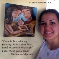 """Miriam & her original 12x12"""" commissioned painting"""