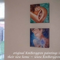 collector display of original mini paintings