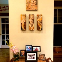 collector display of original paintings