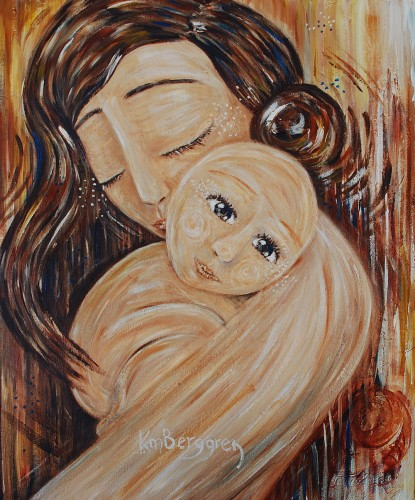 Day To Dream, mother and child painting by Katie m. Berggren