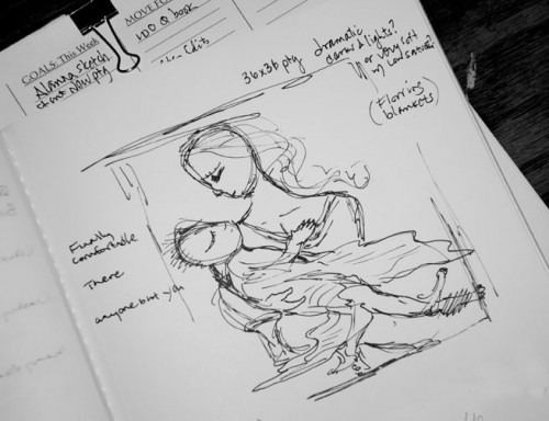 sketch for an upcoming motherhood painting ~ by Katie m. Berggren