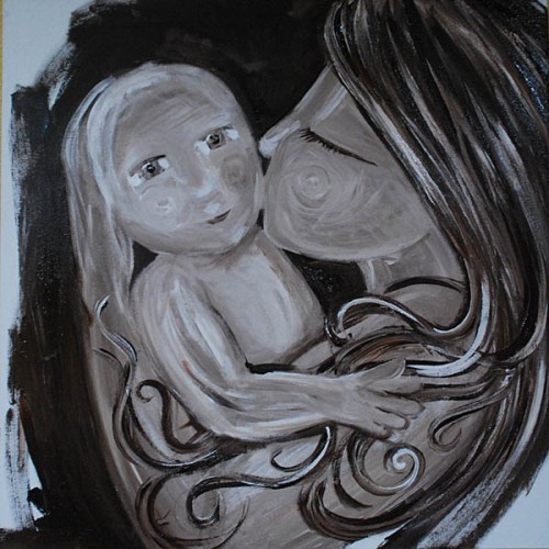 mindful mothering painting inspired by a photo submitted by Chelcea