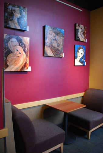 Katie m. Berggren motherhood paintings on display at Starbucks