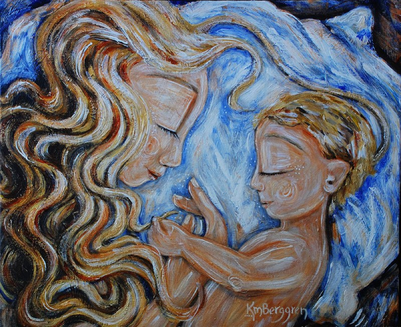 In Kind ~ motherhood co-sleeping painting by Katie m. Berggren