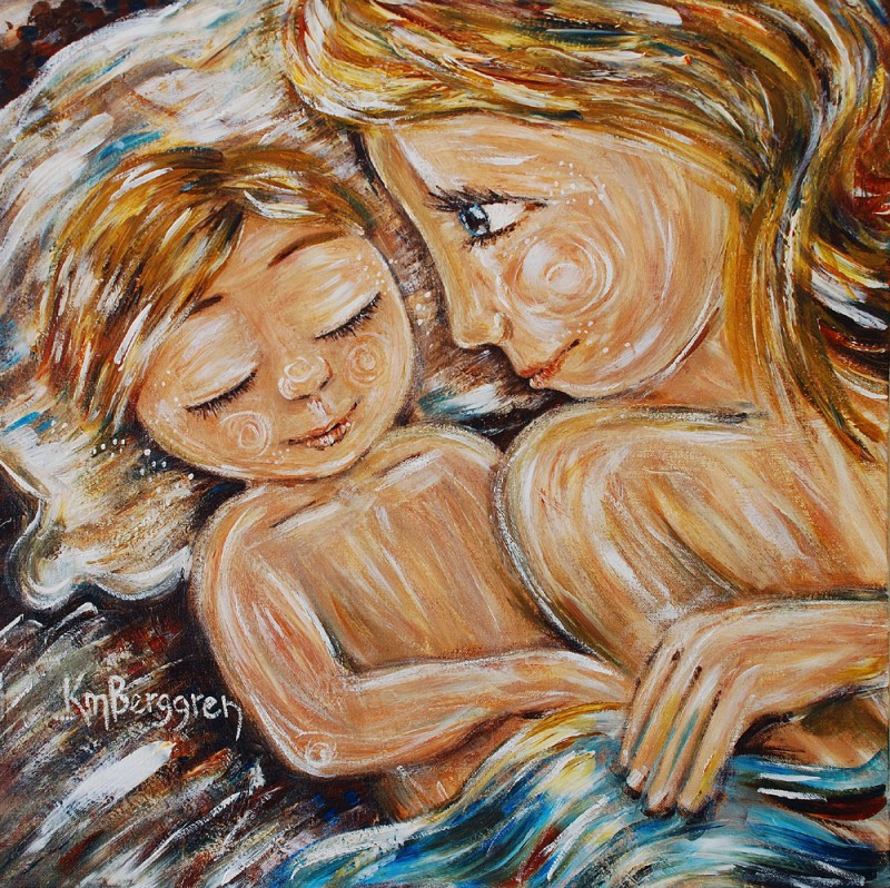 Sacred Space ~ motherhood co-sleeping painting by Katie m. Berggren