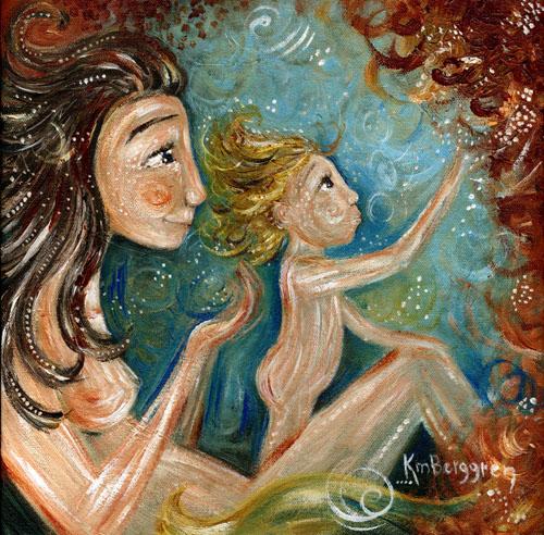 Renewal, brand new motherhood painting by Katie m. Berggren