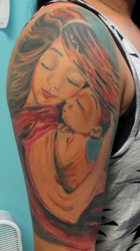 Stephanie's tattoo inspired by the KmBerggren painting Crush