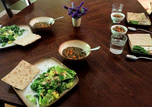 Lentil Soup, Flat Bread and Salad