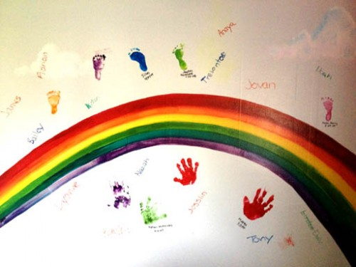 Rainbow of babies at Vida's Ark