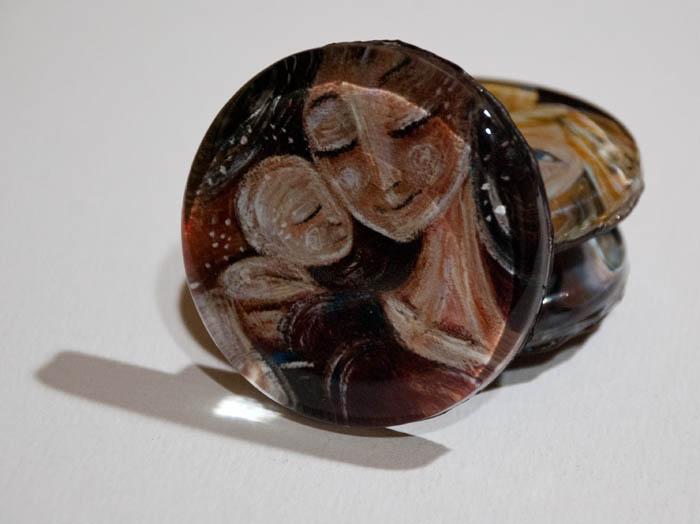 KmBerggren glass art magnet: Bloom