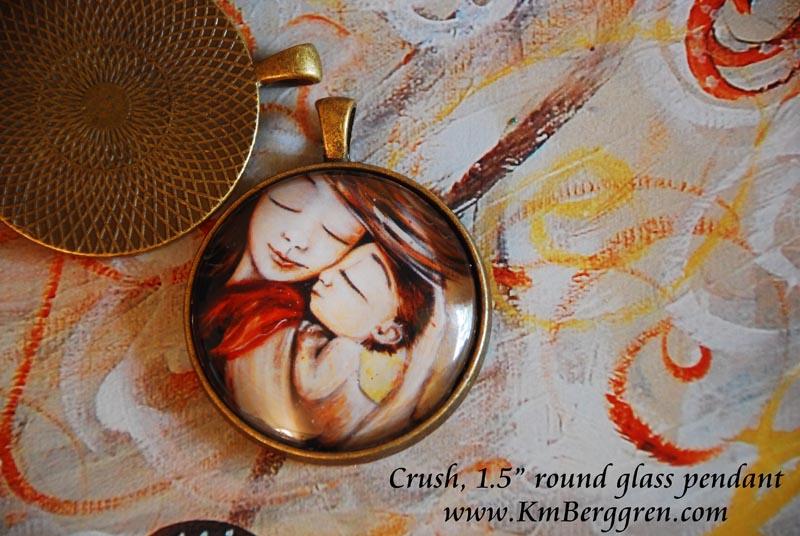 """1.5"""" glass round art pendants from Katie m. Berggren"""
