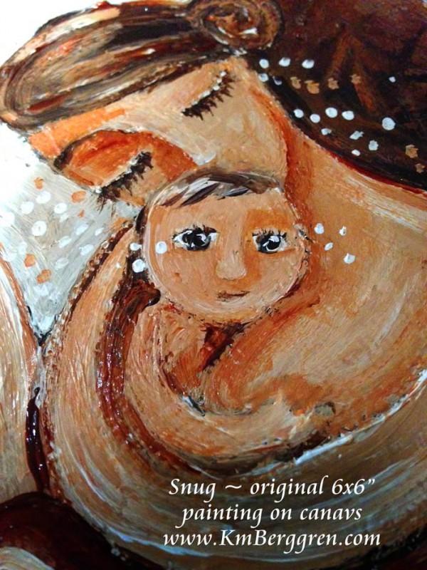 "Snug, original 6x6"" painting on canvas by Katie m. Berggren"