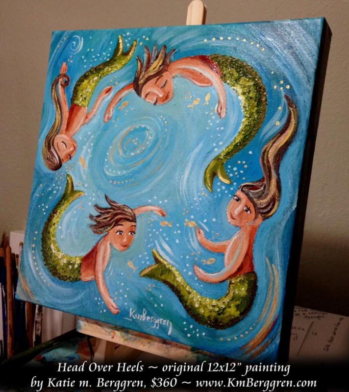 """Head Over Heels available original 12x12"""" painting by Katie m. Berggren"""