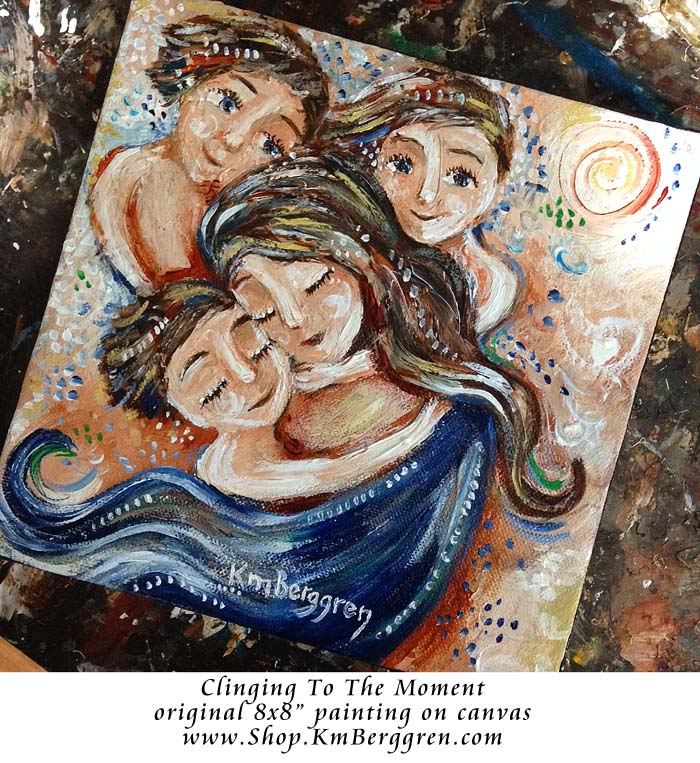 "Clinging To The Moment - original 8x8"" painting on canvas by Katie m. Berggren"