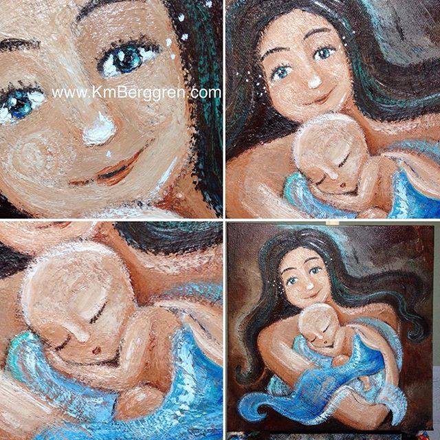progress on the 10th Mindful Mothering Project Painting by Katie m. Berggren