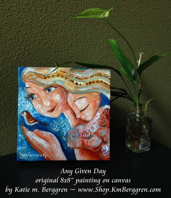 Any Given Day brand new mini original painting by Katie m. Berggren, www.Shop.KmBerggren.com