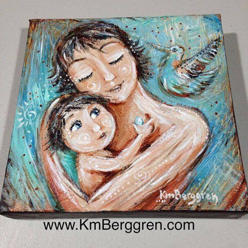 """Born Into Sunshine - available original 8x8"""" painting by Katie m. Berggren"""