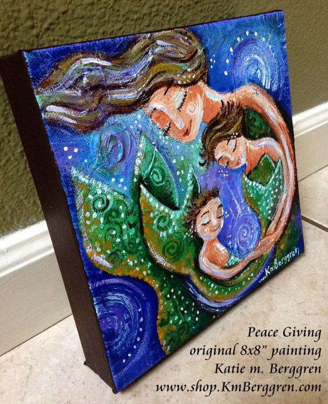 New Mini Mermaid Mama Painting ~ studio closure, order soon ~ art cards