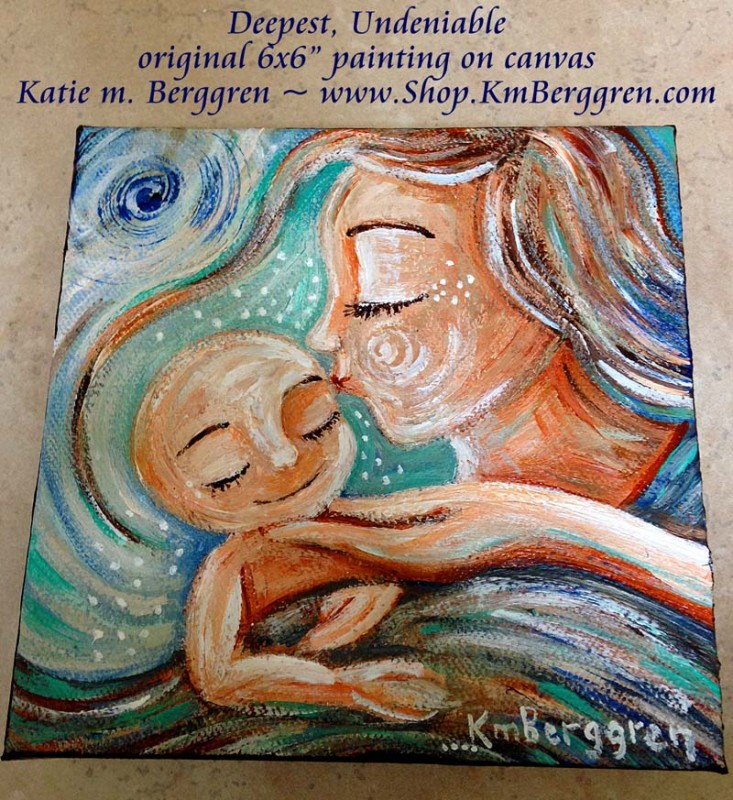 "Deepest Undeniable - new original mini 6x6"" cosleeping painting on canvas by Katie m. Berggren"