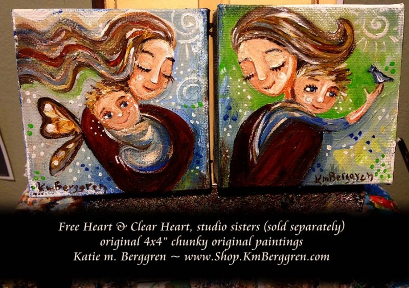 "Free Heart AND Clear Heart original chunky 4x4"" paintings by Katie m. Berggren, www.Shop.KmBerggren.com"
