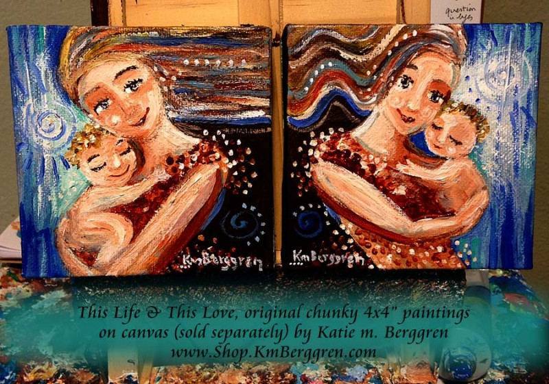 "This Life and This Love, available original 4x4"" paintings by Katie m. Berggren"