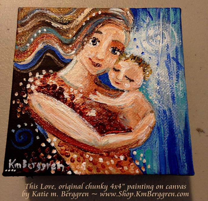 "This Love, available original 4x4"" painting by Katie m. Berggren"