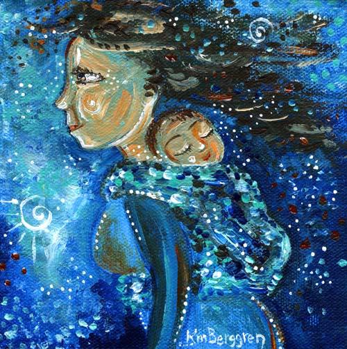 2 brand new breastfeeding & babywearing paintings ~ studio mojo flowin'