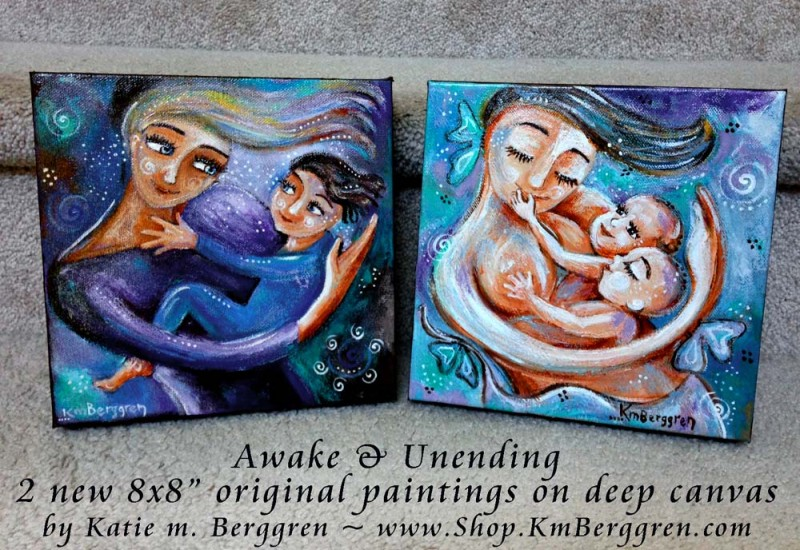"Awake & Unending ~ brand new 8x8"" original paintings on canvas by Katie m. Berggren"