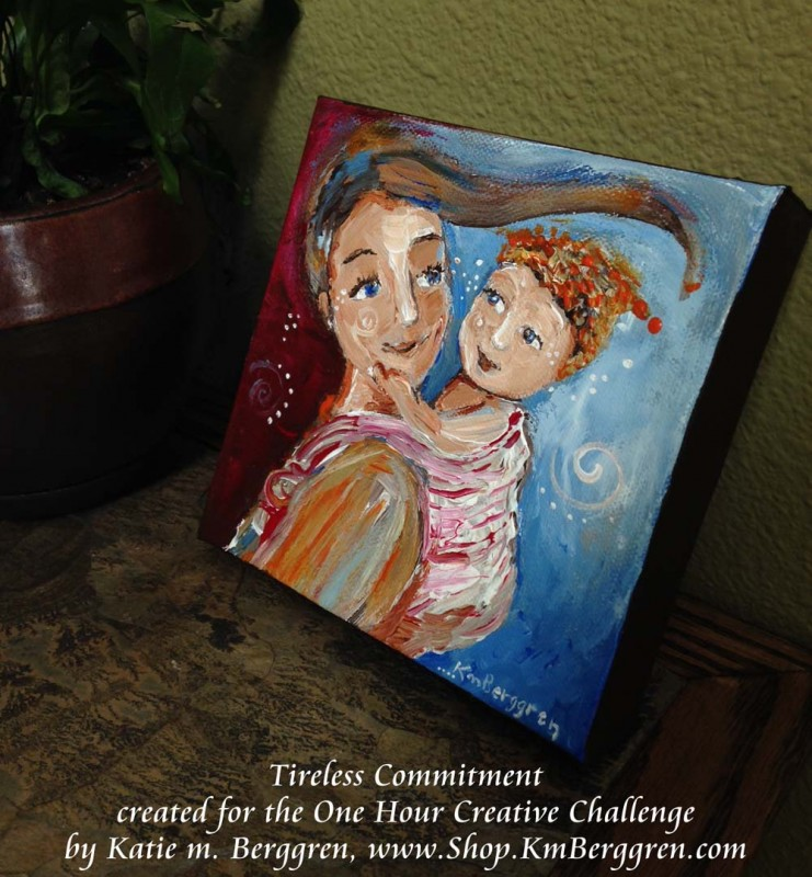 "tireless commitment - original 6x6"" painting - special price - by Katie m. Berggren"