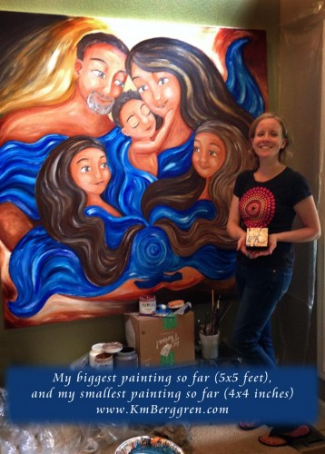 biggest and littlest paintings by Katie m. Berggren