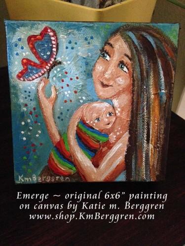emerge, new painting by Katie m. Berggren, www.shop.KmBerggren.com