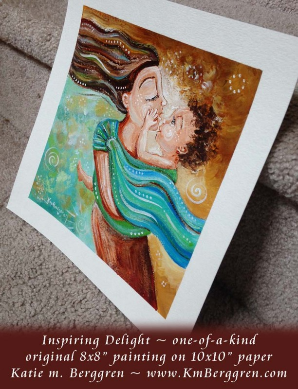 Inspiring Delight brand new original painting by Katie m. Berggren, www.Shop.KmBerggren.com