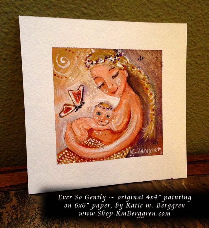 """Ever So Gently, new original 4x4"""" painting on paper by Katie m. Berggren"""