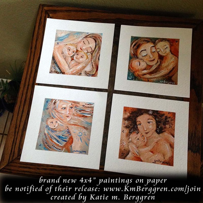 first four 4x4 mini paintings by Katie m. Berggren