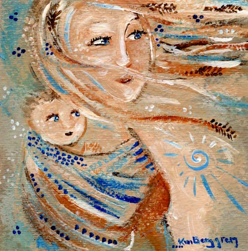 3 of 6 ~ Feathers ~ original mini 4×4 babywearing painting, ready to frame