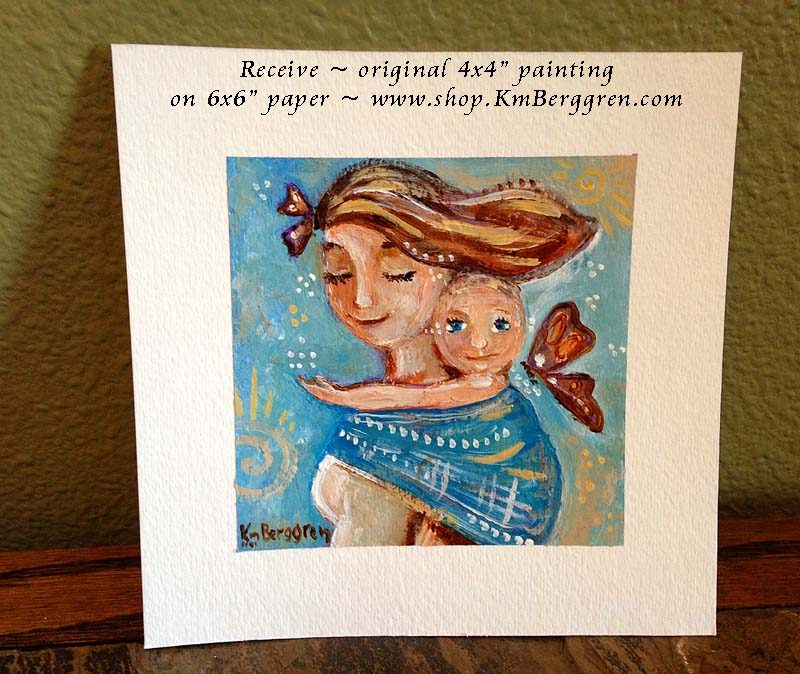 5 of 6 ~Receive ~ original mini 4×4 babywearing painting, ready to frame