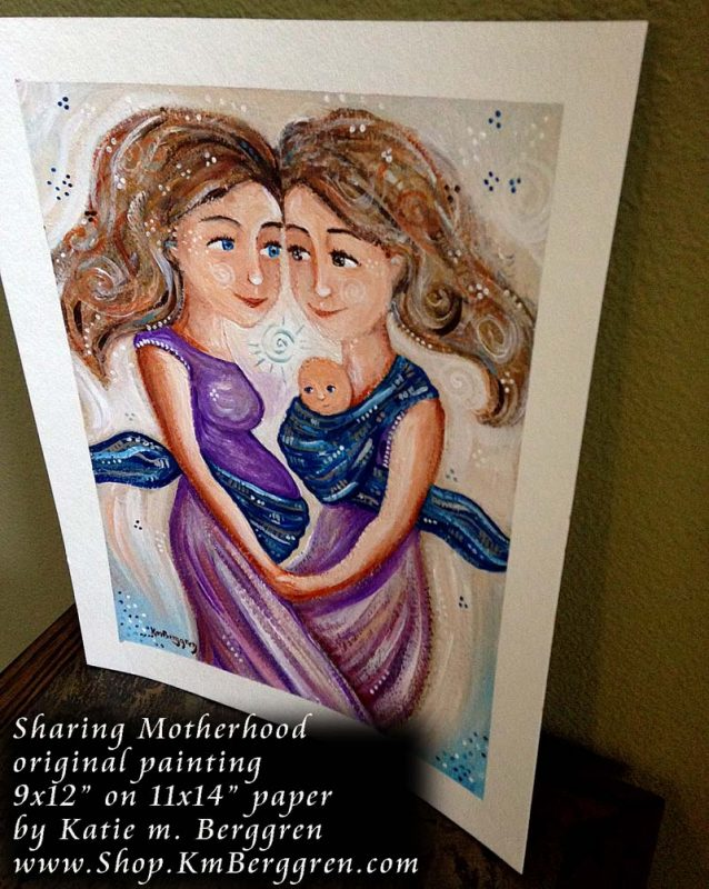 Sharing Motherhood Original painting by Katie m. Berggren