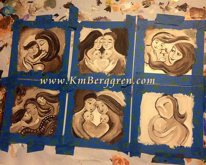 new set of mini paintings on paper, to be released starting April 10