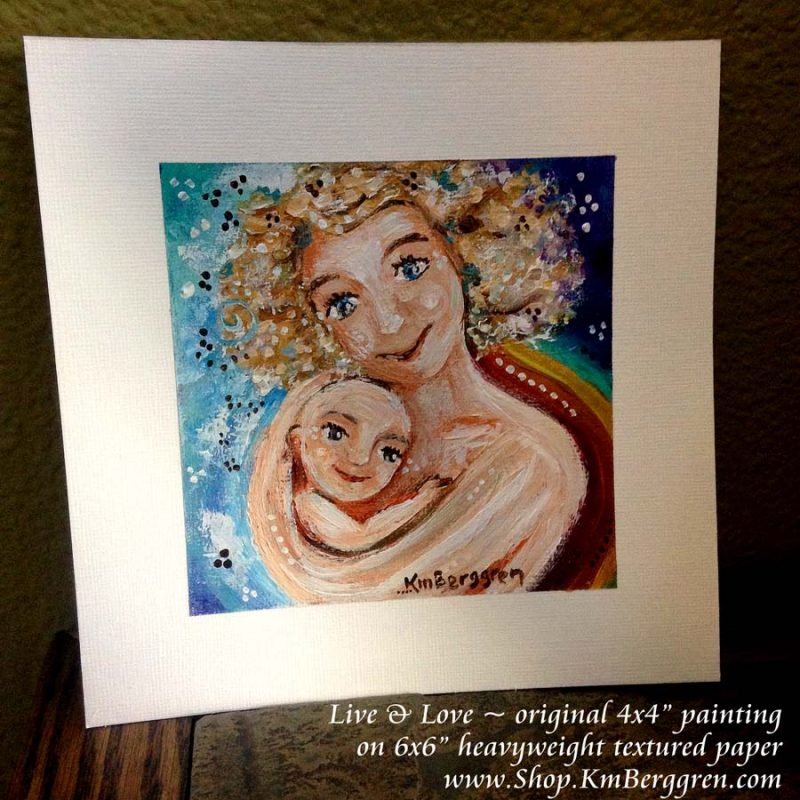Live&Love, brand new original mini painting on paper by Katie m. Berggren