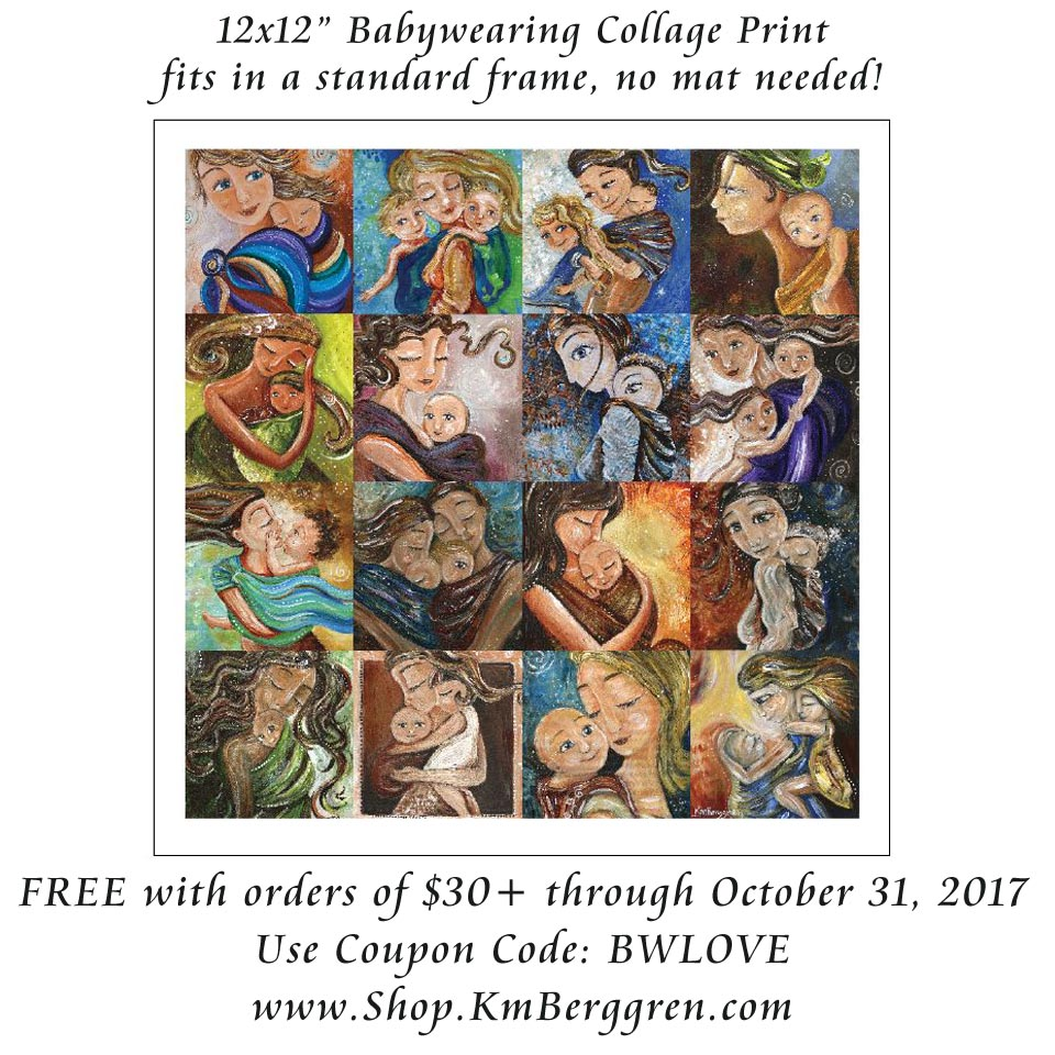 babywearing collage print, free with orders of $30+, www.shop.KmBerggren.com