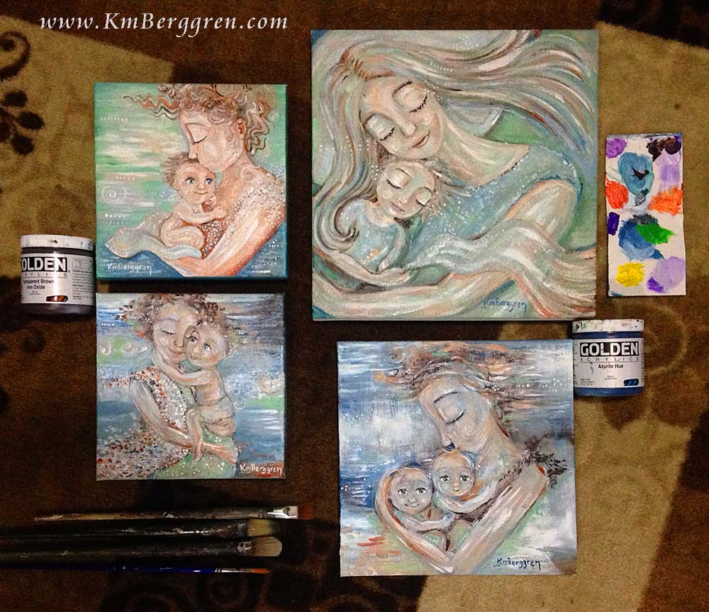 paintings in process, March 2018, by Katie m. Berggren