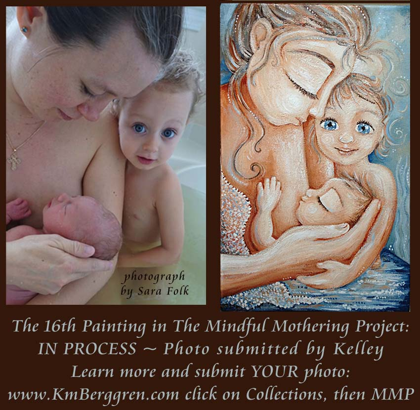 in process, Mindful Mothering Project painting #16, by Katie m. Berggren