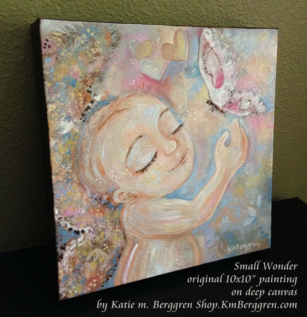 Small Wonder-new angel baby painting by Katie m. Berggren